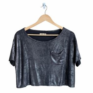 Hollister Black Sparkly Short Sleeve Top Small